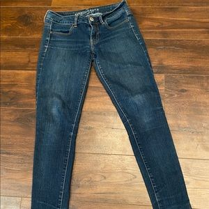 American Eagle blue stretch jeggings.
